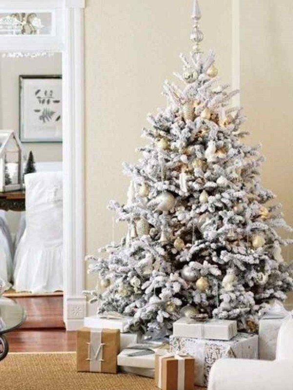 Flocked Christmas Tree Decorating Ideas Color Schemes White Gold Palette Christmas Tree Decorations Flocked Christmas Trees White Christmas Tree Decorations