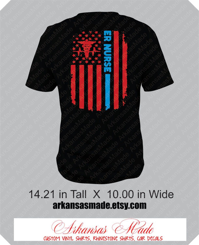 er nurse distress american flag custom nurse shirt  design on back of shirt  emergency nurse