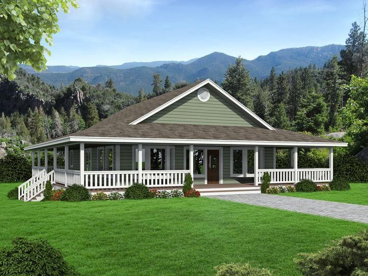 Home Plan 001 3623 Front Rendering Ranch Style House Plans Ranch Style Homes Porch House Plans