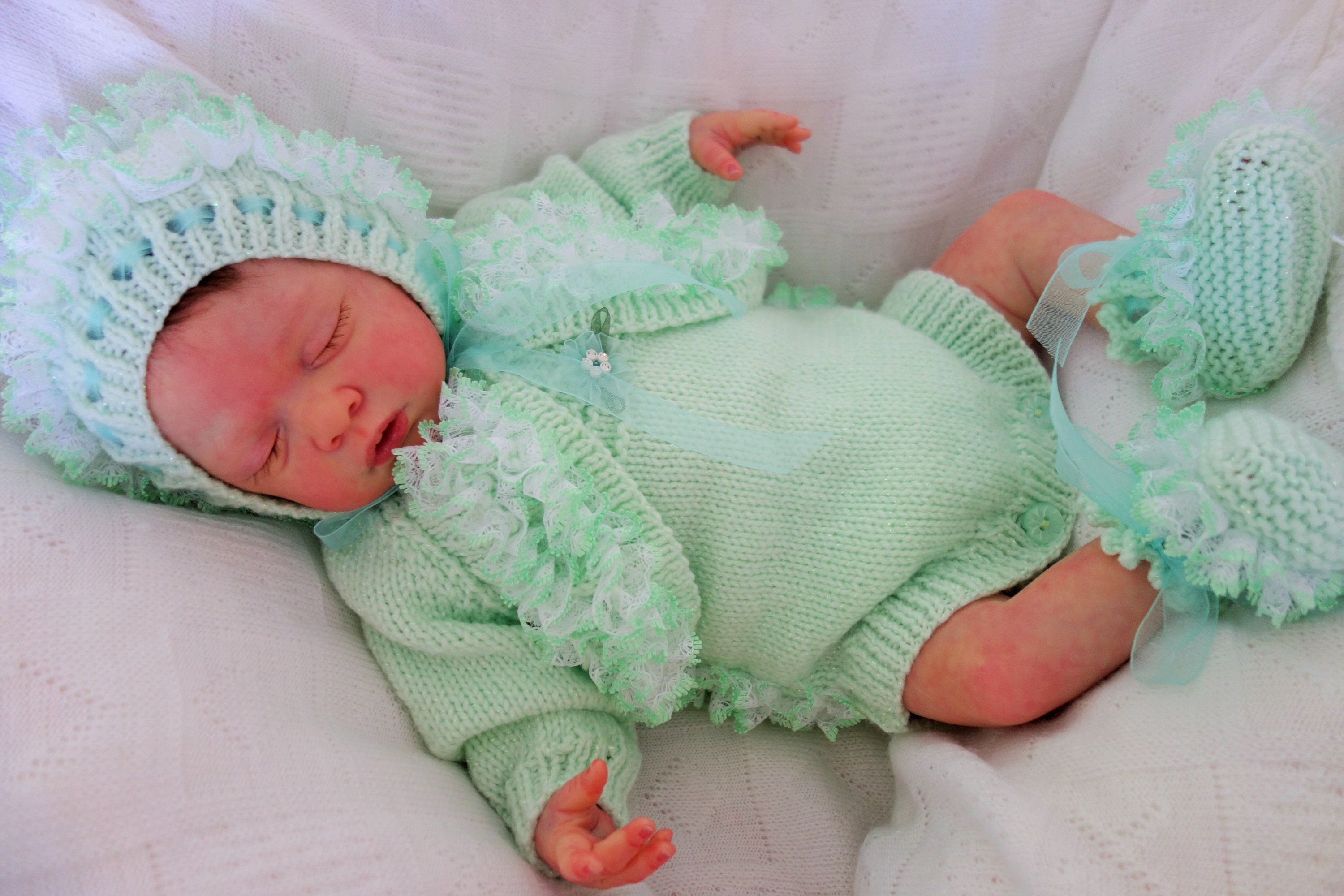 9db20c503fc7 Hand knitted newborn baby girl s fancy lace trimmed mint green ...