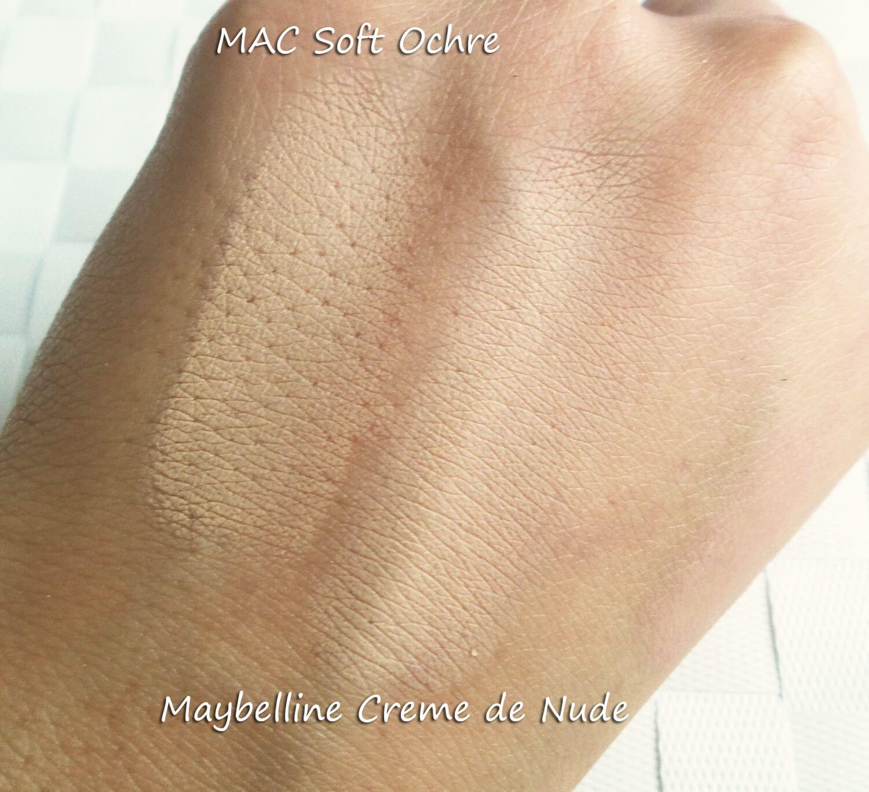 Mac Soft Ochre Next To Maybelline Creme De Swatches