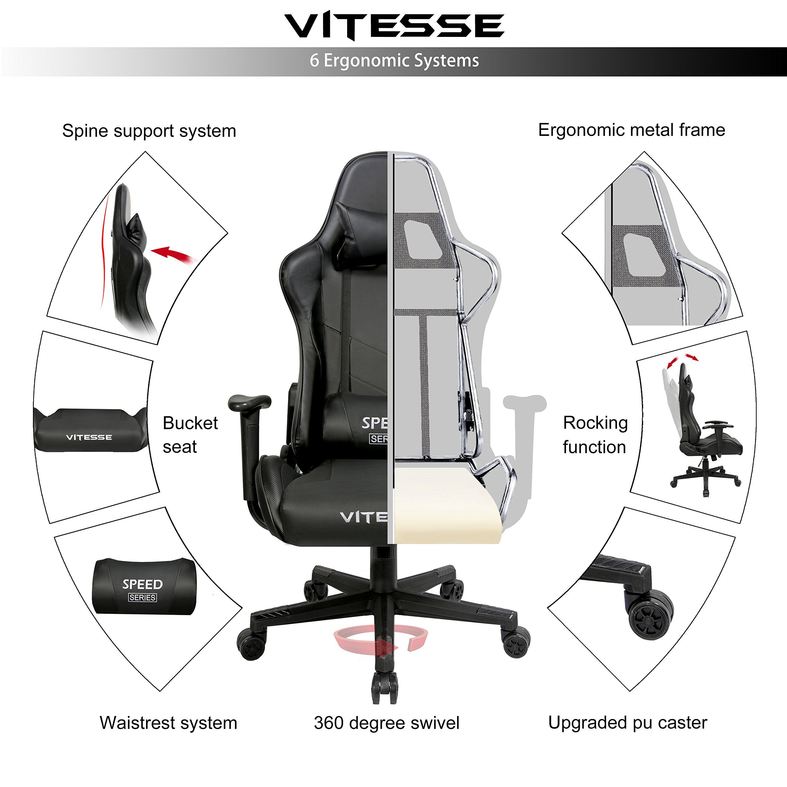 Gaming Office Chair Ergonomic Desk Chair High Back Racing