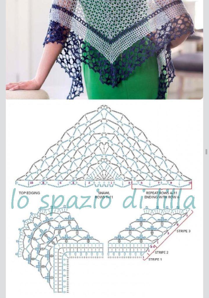 Pin de Mirtha Muñoz en chal | Pinterest | Chal, Ganchillo y Tejido