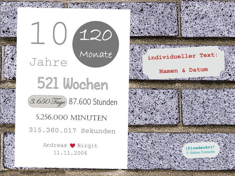 """Wanddeko Bild zum 10 HOCHZEITSTAG """"3 650 Tage"""" grau ein"""