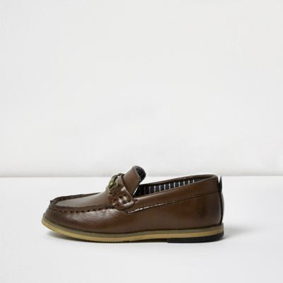 River Island Mini boys brown snaffle loafers
