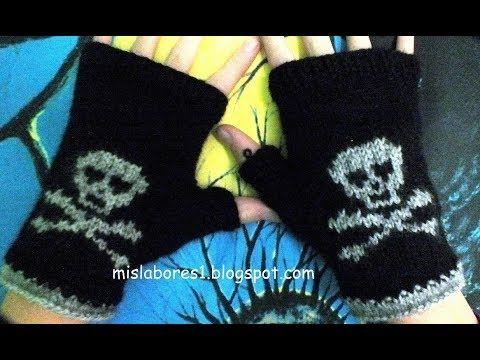 Mitones con calavera Parte 1 - YouTube | cat crochet applique ...