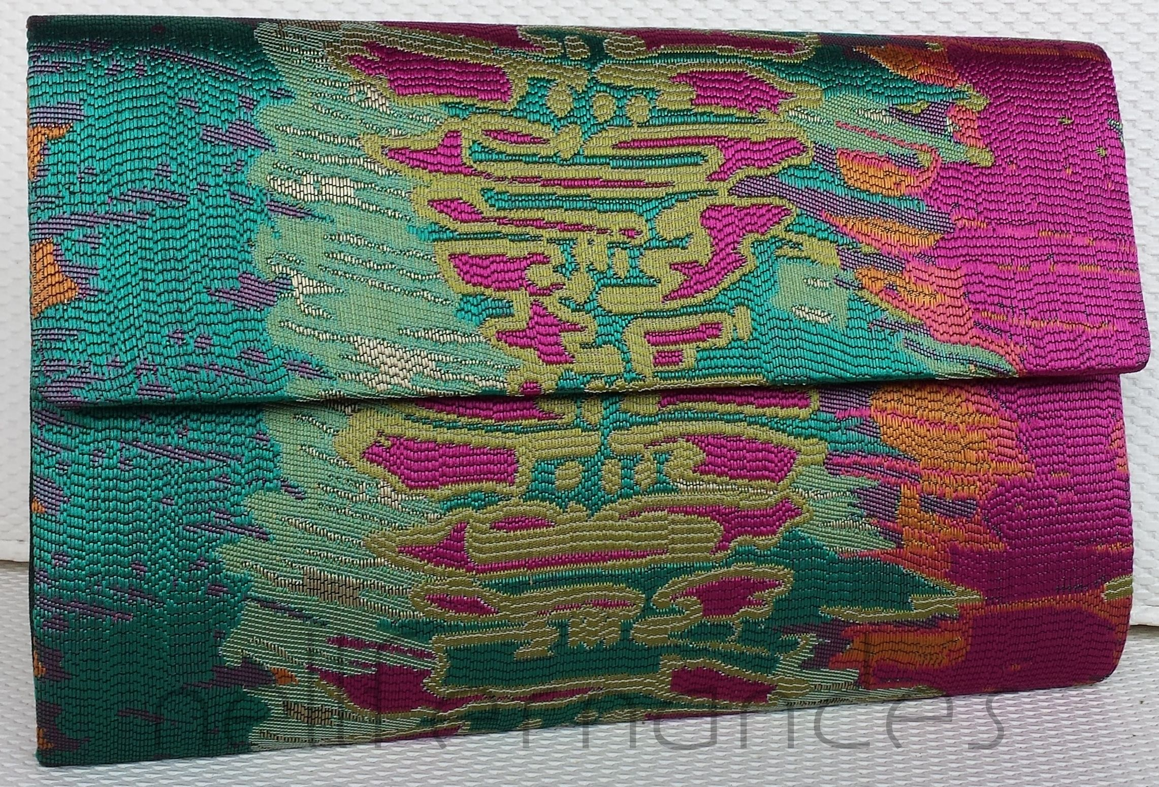 Carteira nellfernandes em brocado de seda americano - tamanho: 28 x 17 - VENDIDA