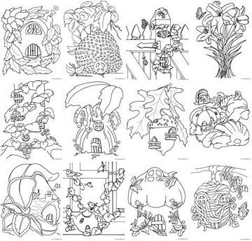 Fairy House Coloring Pages LineArt Gnomes Pinterest Fairy houses