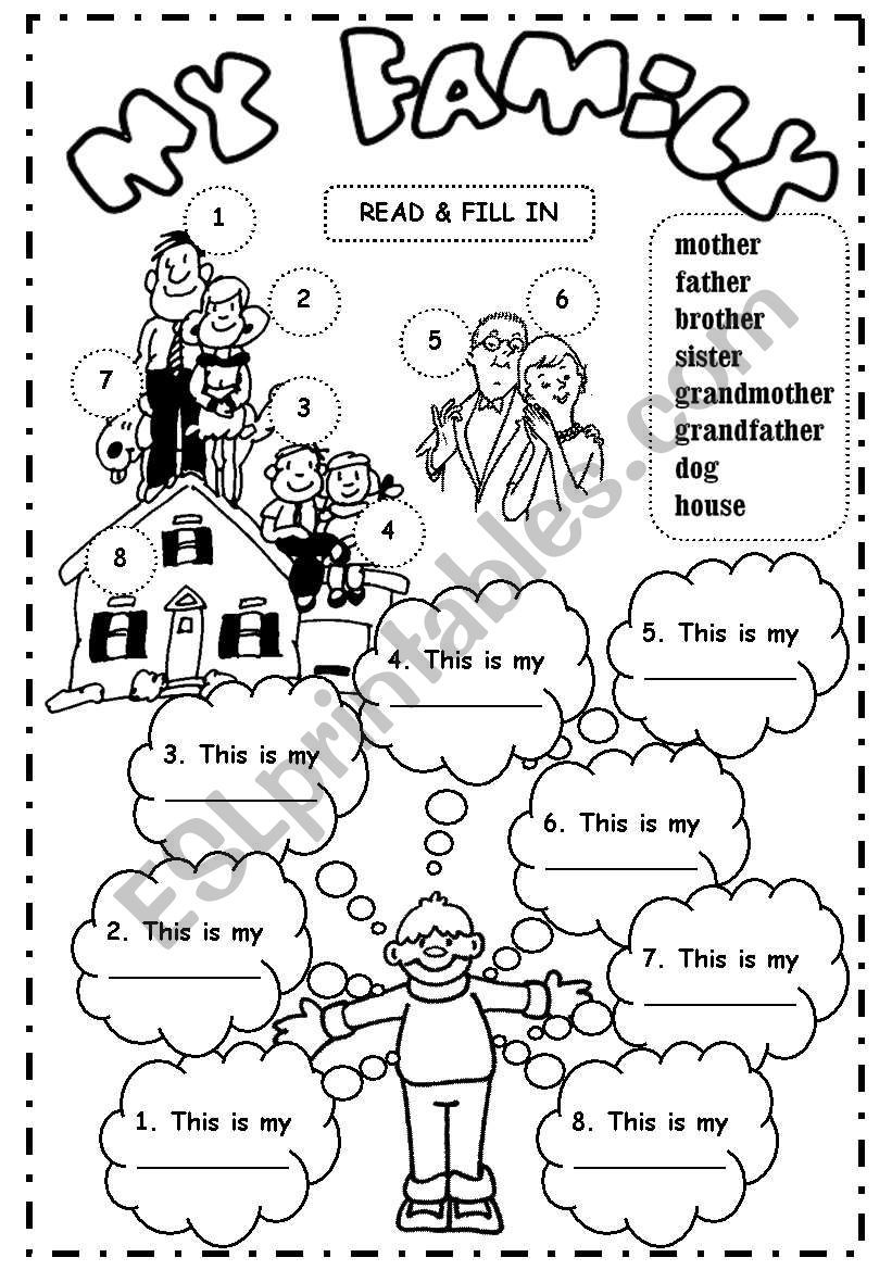 Level 3 Read & Fill in (family members + ´house´ and