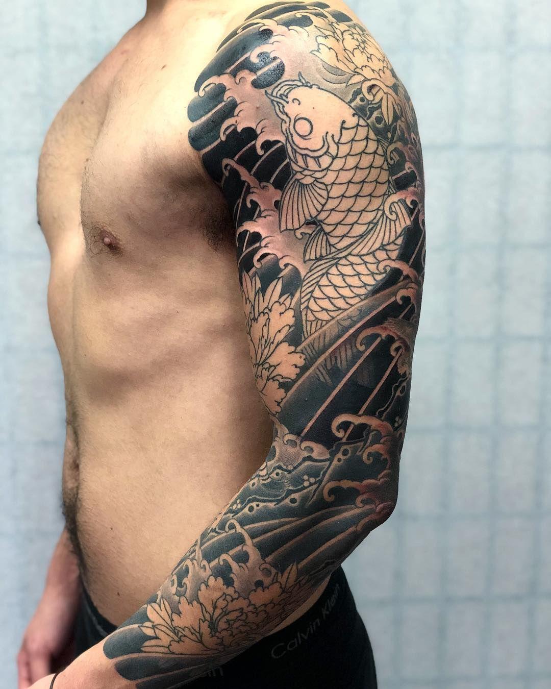 Pin By Ilya On Fish Koi Tattoo Sleeve Japanese Tattoo Japanese Sleeve Tattoos