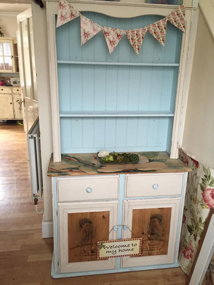 Vintage shabby chic dresser redo . sanded tops and door fronts with graphics added xx