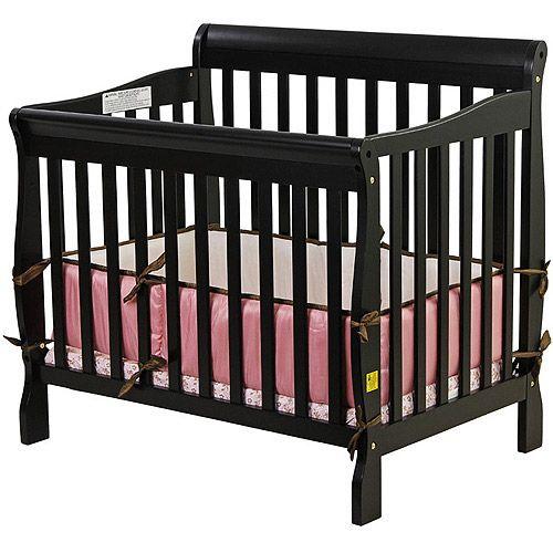 Dream On Me Aden 4 In 1 Convertible Mini Crib Black Walmart Com Mini Crib Cribs Baby Nursery Furniture