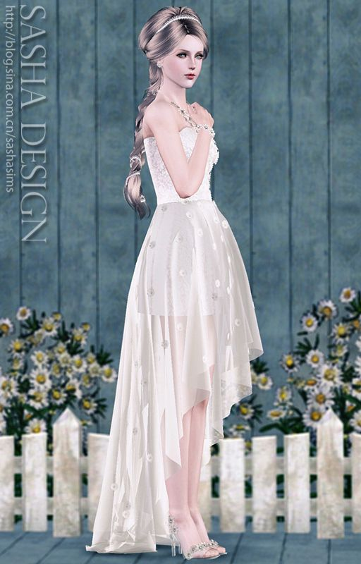 5d79e3cff Daisy Small tail wedding suits and crystal glass slipper at Sasha. J - Sims  3