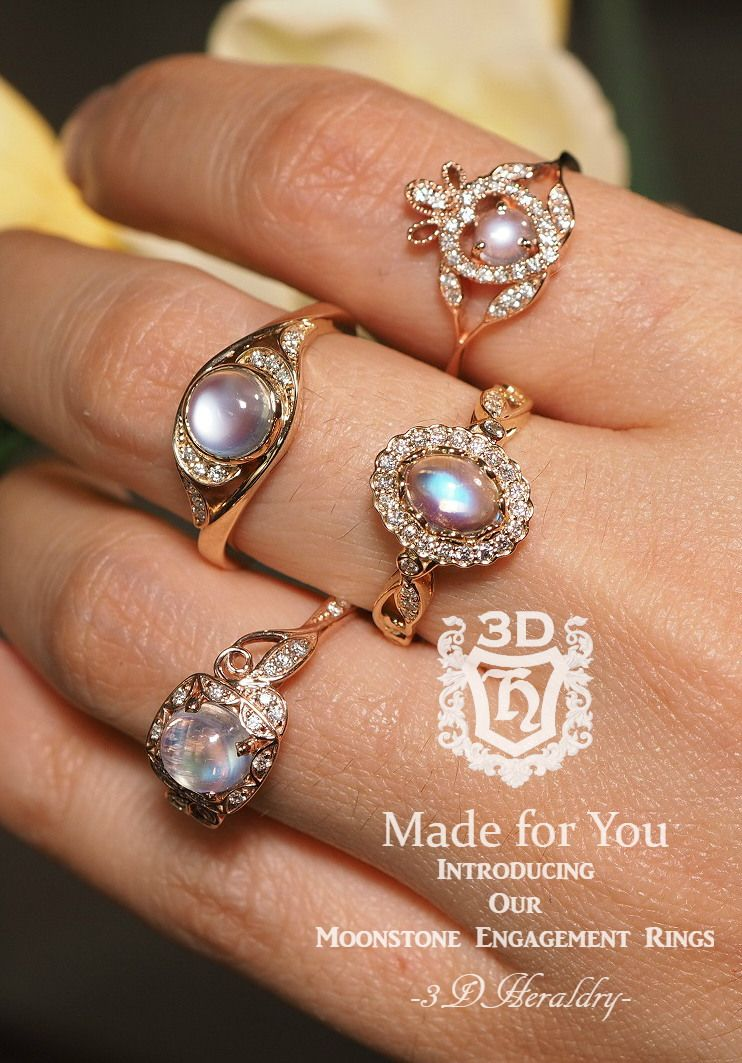 Rainbow moonstone engagement rings made with your choice of k