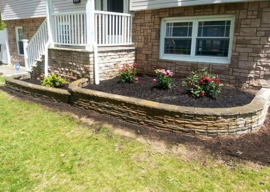 4 In X 12 In X 7 5 In Charcoal Tan Concrete Retaining Wall Block 86935 The Home Depot Concrete Retaining Walls Front Yard Landscaping Landscape Pavers