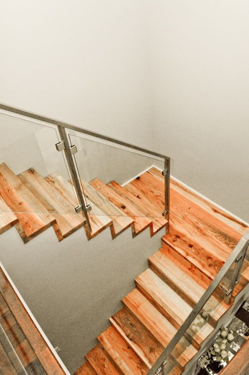 Open Stringer Salvaged Wood Metal Glass Railing