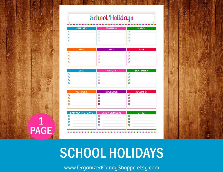 Organized Candy Shoppe School Holidays Printable