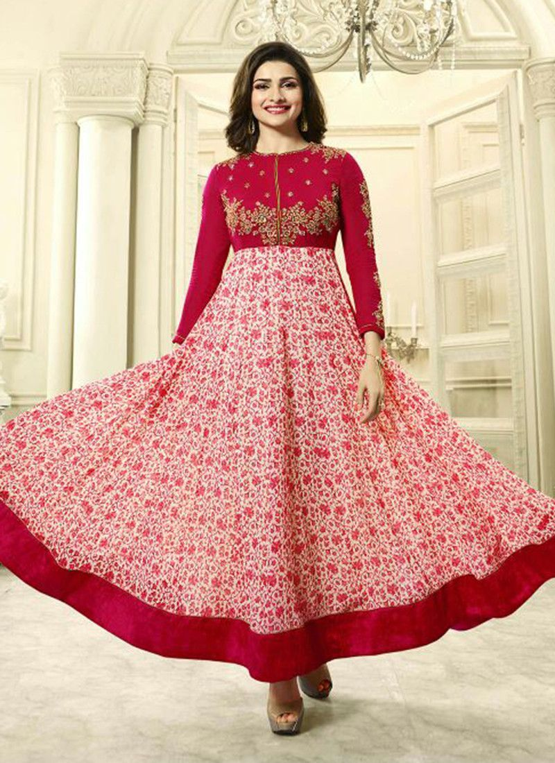 d3e1a168b43 Georgette Maroon Embroidered Anarkali Suit