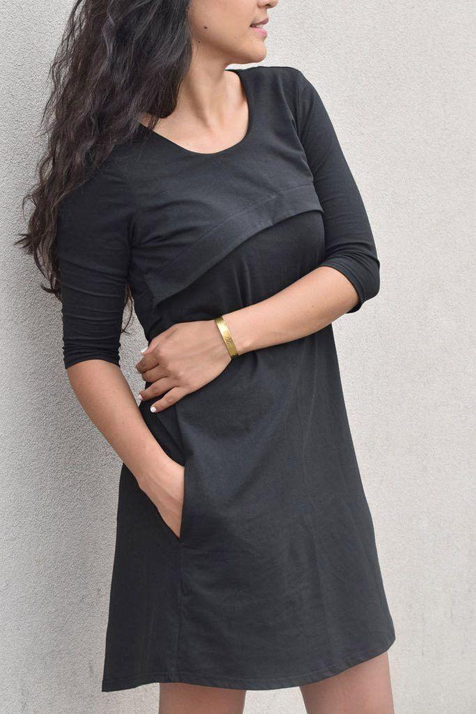 CORNELIA capelet dress with inseam pockets in Black