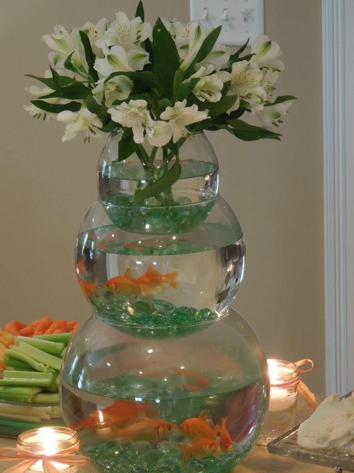Stacked fishbowl centerpiece for boy baby shower with fish