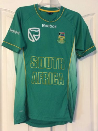 852a6f92adff Men S Reebok South Africa Cricket Jersey Size Medium Bold Green Color V-Neck