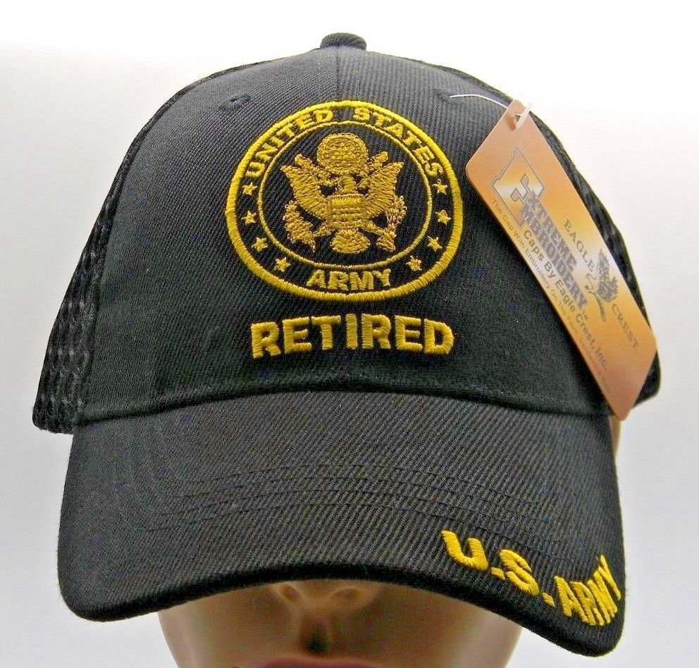 609c42c9239 U S Army Retired Crest Cap Hat Black Embroidered Bill Adjustable New  Military 718137058572