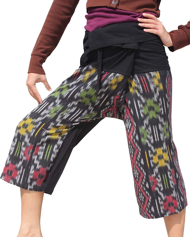 Thai Wrap Fisherman Pants in Silky Thick Mudmee Fabric Short - Tan Brown - CO12O5RYDVK - Sports & Fi...