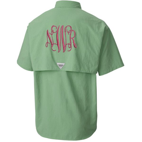 3f0bf2b3cef66 Monogram Short Sleeve Fishing Shirts Monogram Fishing Shirts Monogram...  (265 HKD) ❤ liked on Polyvore featuring swimwear, cover-ups, blouses, tops,  white, ...