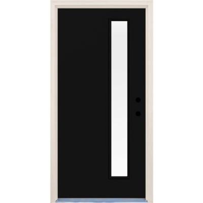 Builders Choice 36 In X 80 In Inkwell Left Hand 1 Lite Clear Glass Painted Fiberglass Prehung Front Door With Brickmould Hdx164457 Modern Exterior Doors Exterior Doors Front Door