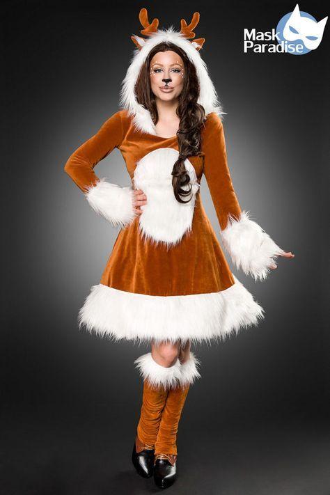 kostuem rehkitz kleid kostuemset fasching karneval damen