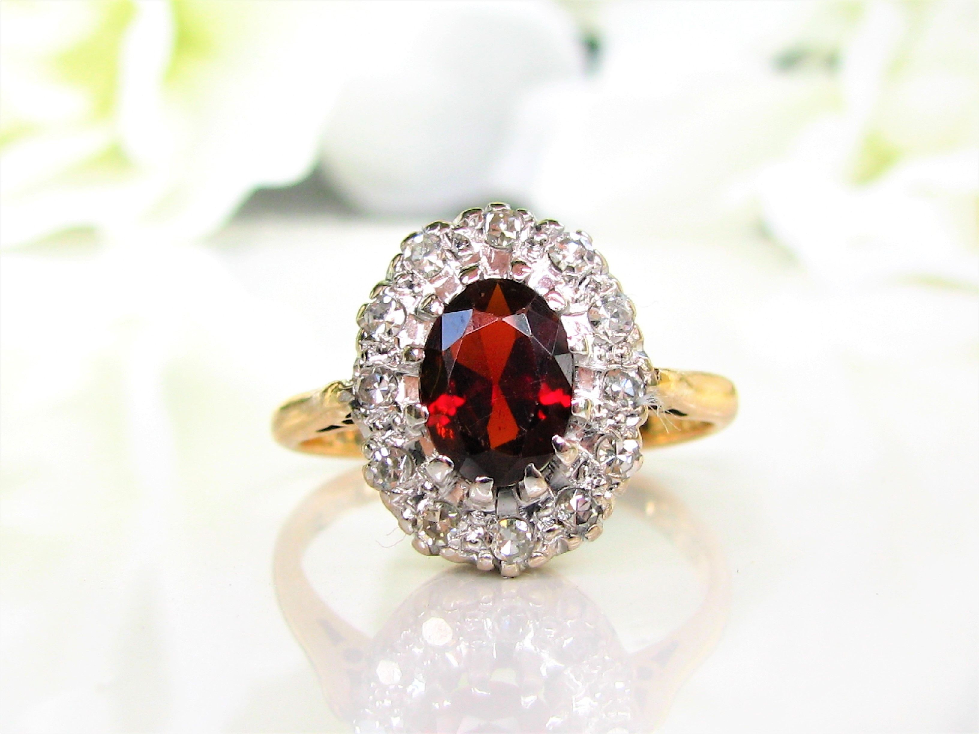 french regal sterling paste cut rose garnet products georgian diamond shot ruby silver ring afdd