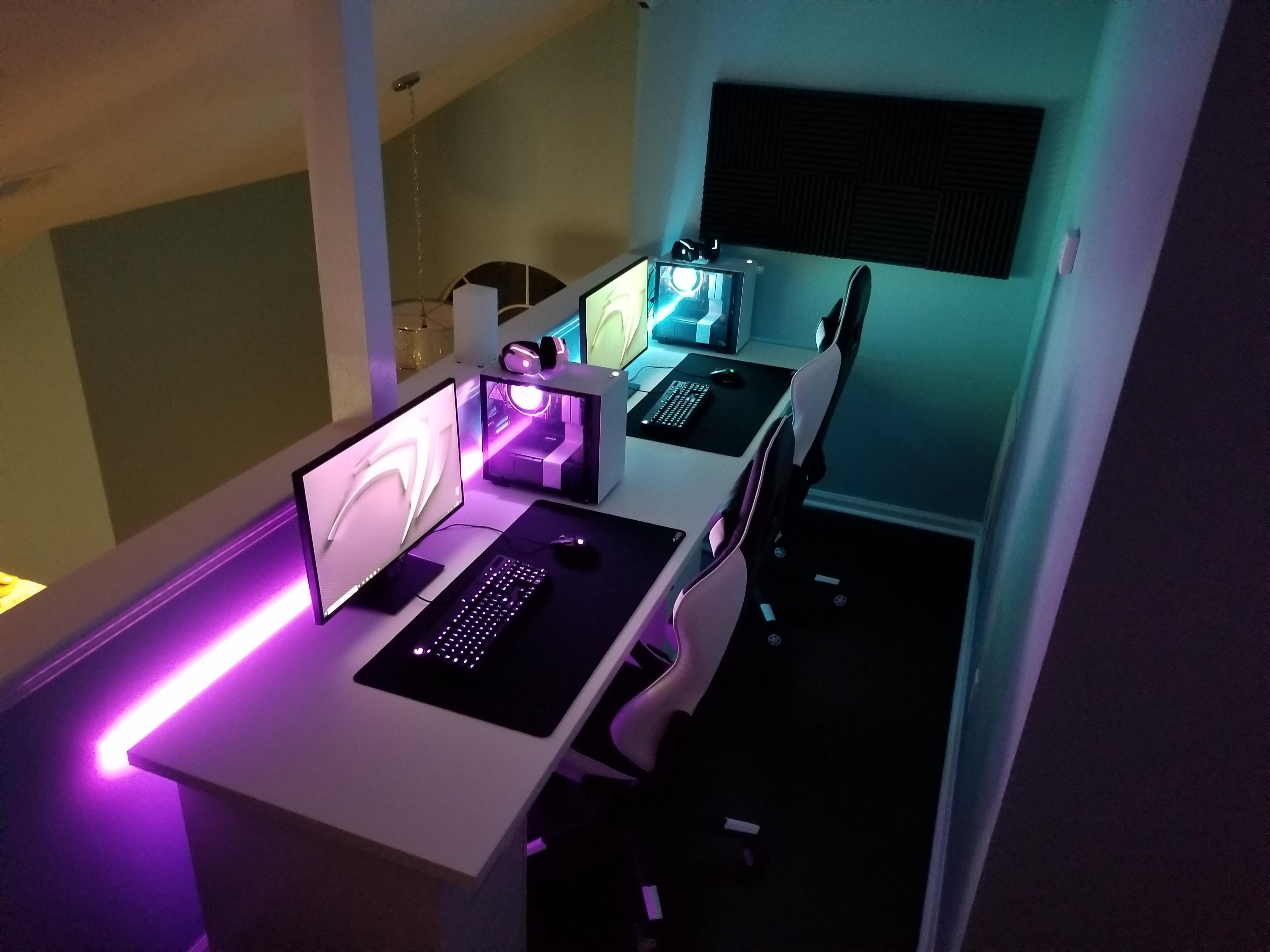 Simple His Hers Setup Battlestations Computer Gaming Room Computer Desk Setup Video Game Room Design