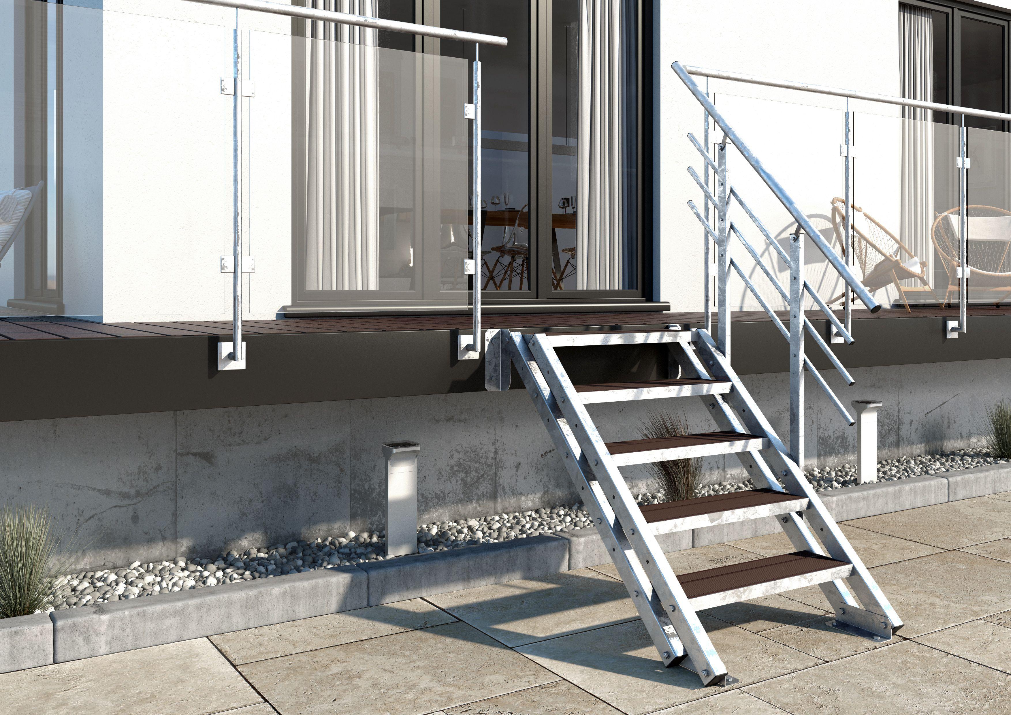 Aussentreppe New York 4 Stufen Gelander Einseitig Stufenbreite 80cm Stahlwangentreppe Gartentreppe Balkontrep Aussentreppe Treppe Terrassen Treppe