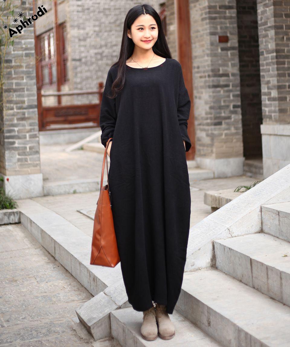 autumn dress linen cotton women dress club oneck long sleeve