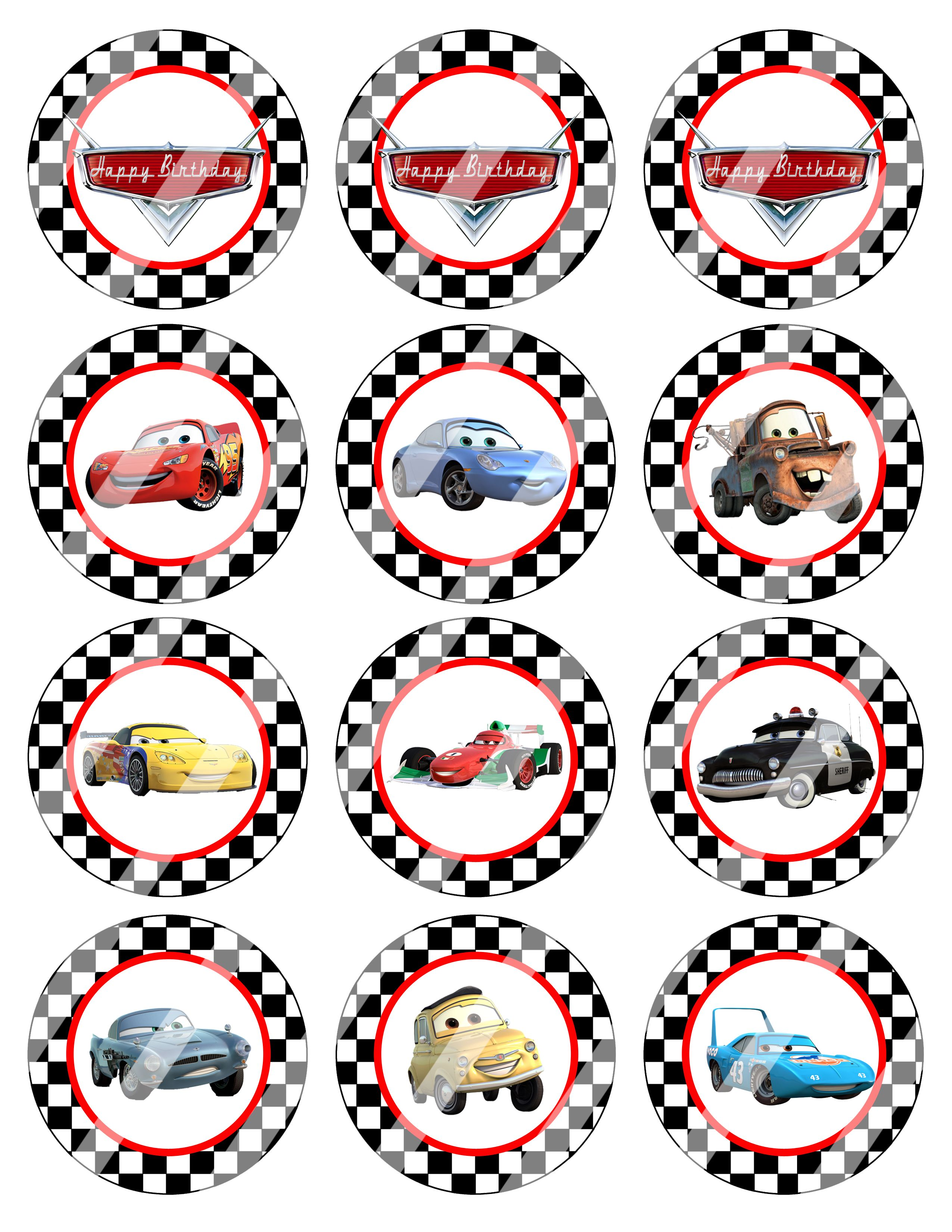 65dc7d2d97b Disney Cars 2 Birthday Cupcake toppers or gift tags  2.99