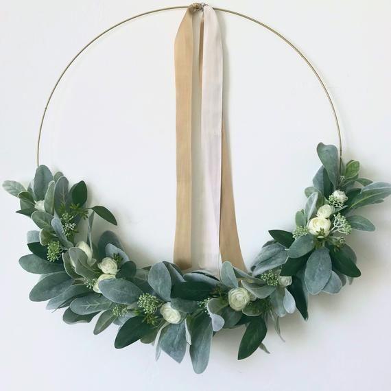 Photo of JANE, everyday wreath, gold hoop wreath, modern wreath, front door wreath, christmas gift, lambs ear wreath, farmhouse wreath, nursery decor