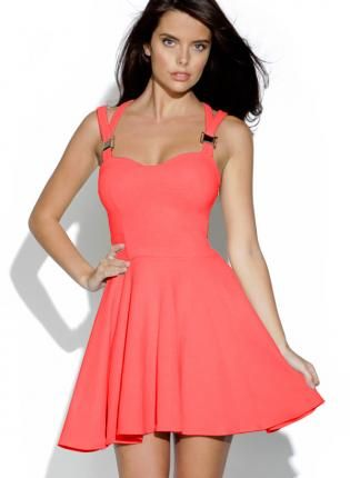 2e54f2ff687 Neon Pink Cut Out Skater Dress with Sweetheart Neck