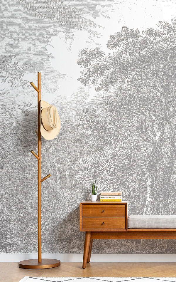 Gray Forest Wallpaper Etching Design MuralsWallpaper