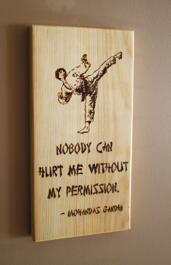 Karate Wall Sign Martial Arts Decor Wood Burned Hanging Distressed Wooden Pyrography Taekwondo Picture Kick Display