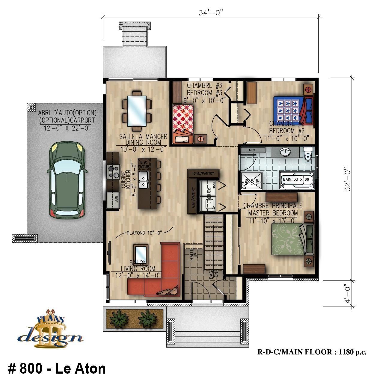 800 le aton bungalow handicap plain pied plans design for Plan de maison pour handicape