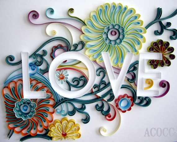 Sylized floral quilled paper custom word 8 x 10 any by acocc