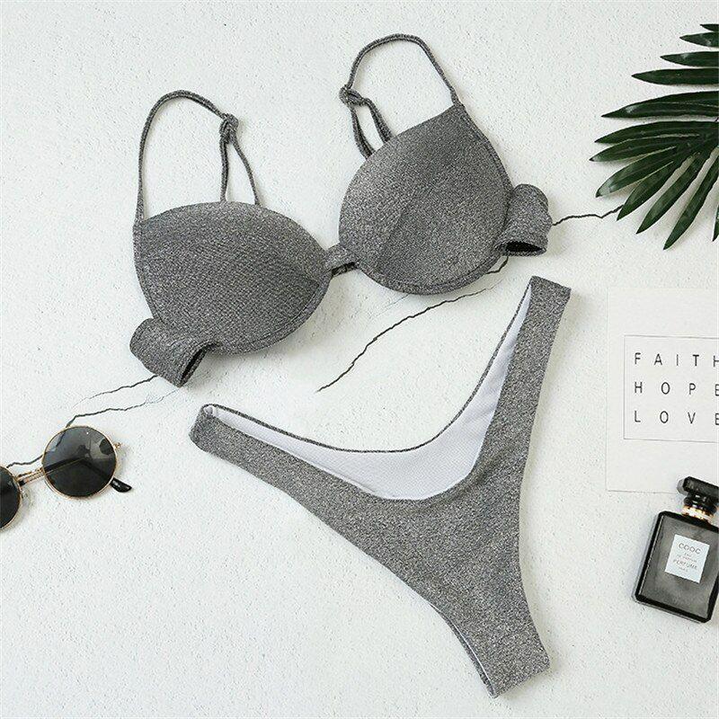 Women's 2020 Hot Thong Bikini Brazilian Micro Solid Swimsuit Swimwear Women Hooked Underwire Sexy Bikini Set Two Piece Biquini
