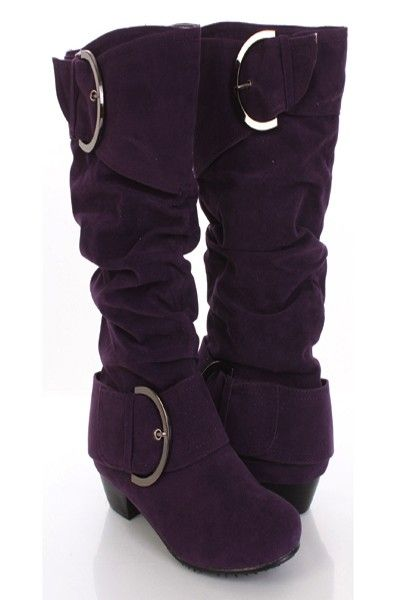 Purple Faux Suede Buckle Strap Ruched Mid Calf Boots