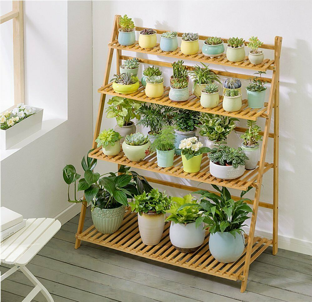 Foldable Design Ensure It Convenient Efficient And Save Spacing Height Of Each Tier Bottom Shelf To 2nd Shelf 16 Plant Shelves Plant Table House Plants Decor