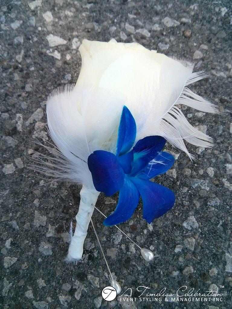 Modern wedding flower boutonniere white roses blue dendrobium