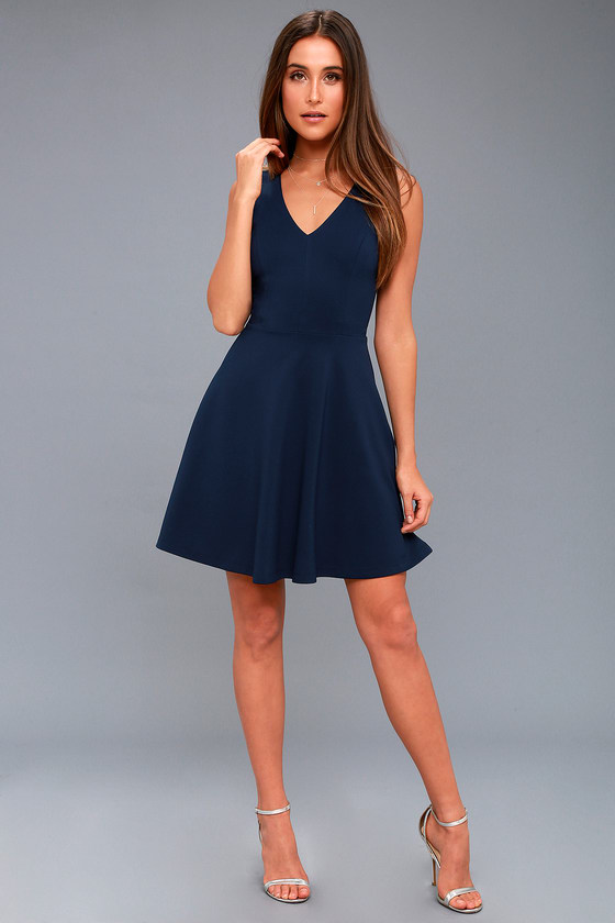 Bon Appetit Navy Blue Skater Dress #navyblueshortdress