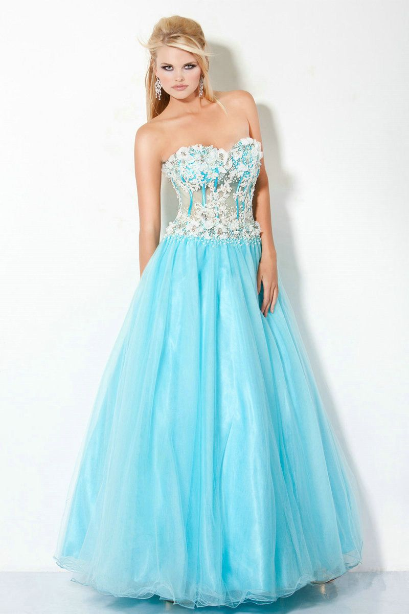 A-line Floor-length Organza Sweetheart Beading Prom Dresses Cheap ...