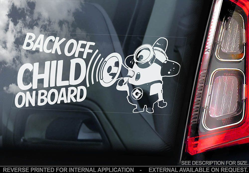 Car Window Sticker Kids on Board V02 Minions Gift Decal Sign PERSONALISE