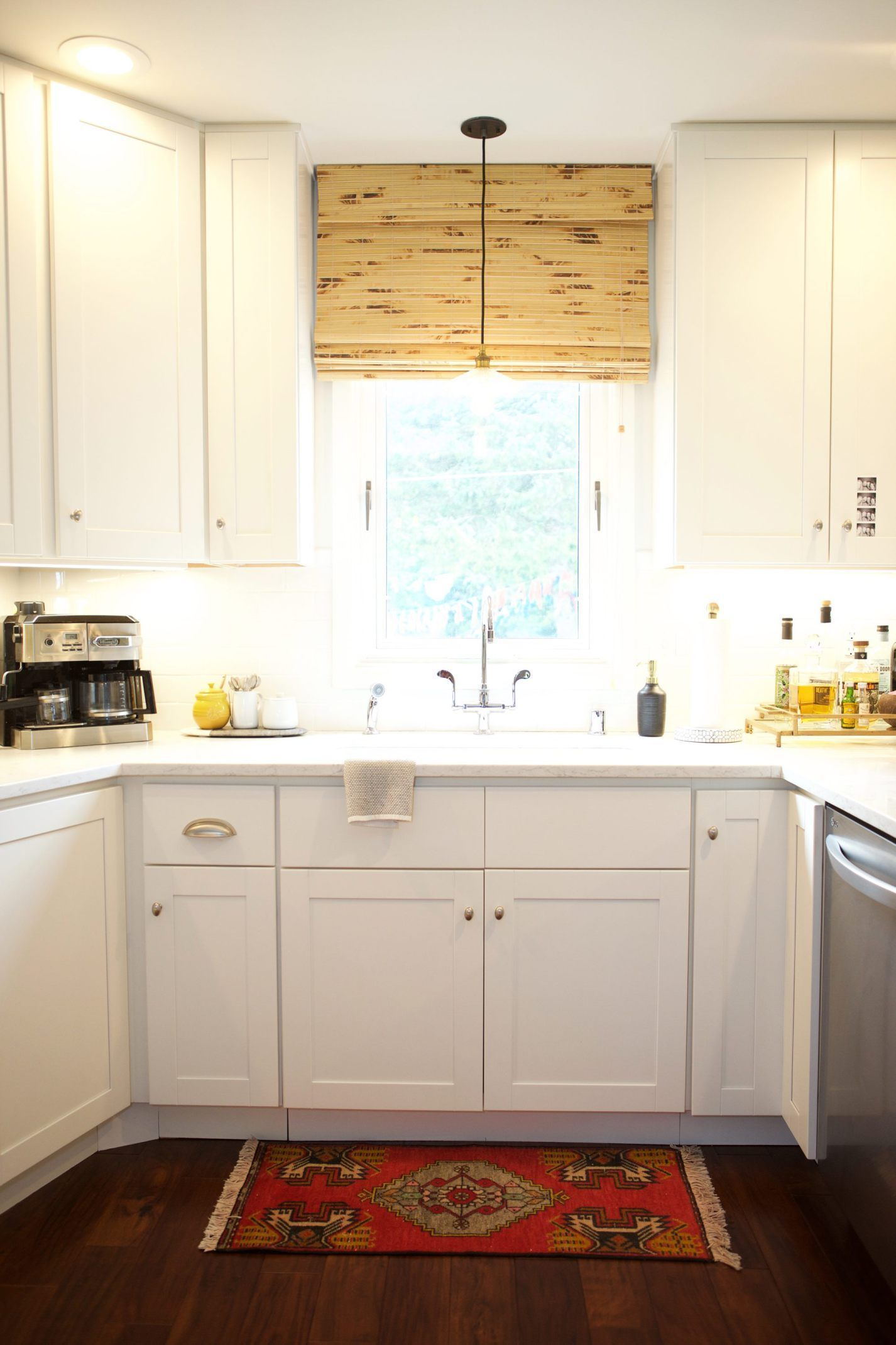 Kitchen sink without window  kitchen sink with turkish rug and bamboo shade on window