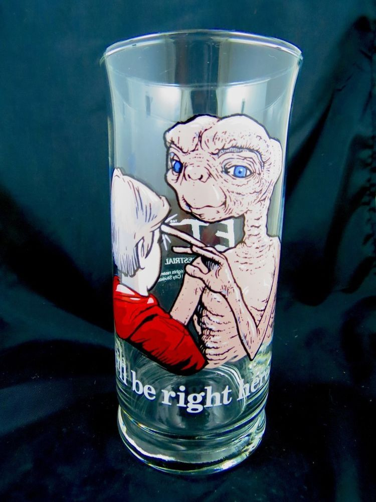 E.T. The Extra Terrestrial Drinking Clear Glass Limited Edition 1982 Pizza Hut N #PizzaHut